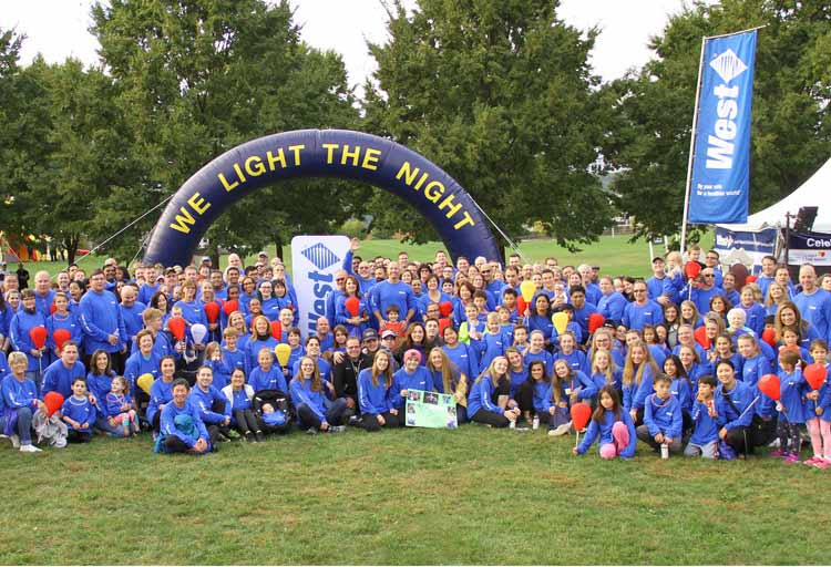 Over 300 West employees and their families supported LLS Light the Night