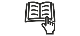 Guidance Icon with open book and finger pointing