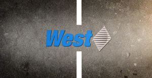 West logo on a road