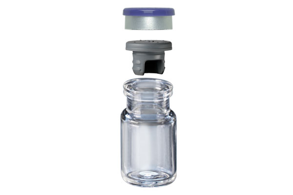 Seal, Stopper and Vial stacked on top of each other
