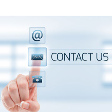 Contact us graphic with human hand pushing email button